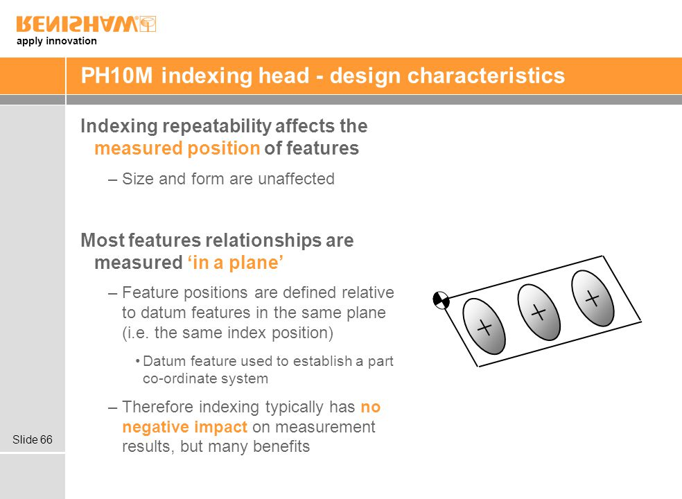 apply innovation Slide 66 PH10M indexing head - design characteristics Indexing repeatability affects the measured position of features –Size and form are unaffected Most features relationships are measured in a plane –Feature positions are defined relative to datum features in the same plane (i.e.