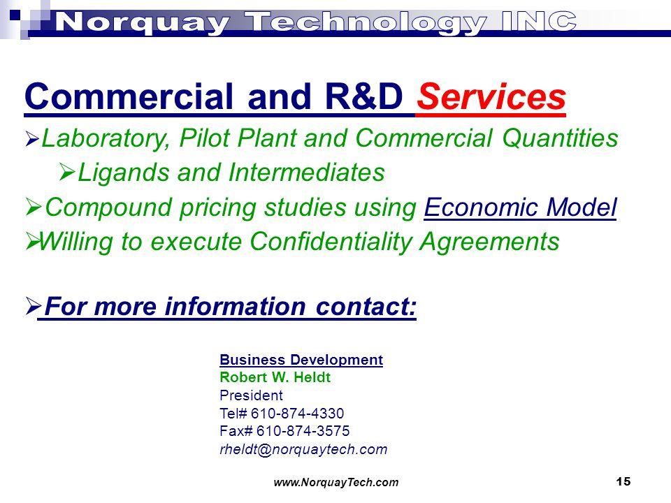 www.NorquayTech.com15 Commercial and R&D Services Business Development Robert W.