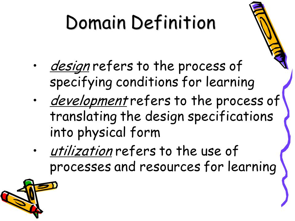 Domain Definition design refers to the process of specifying conditions for learning development refers to the process of translating the design speci