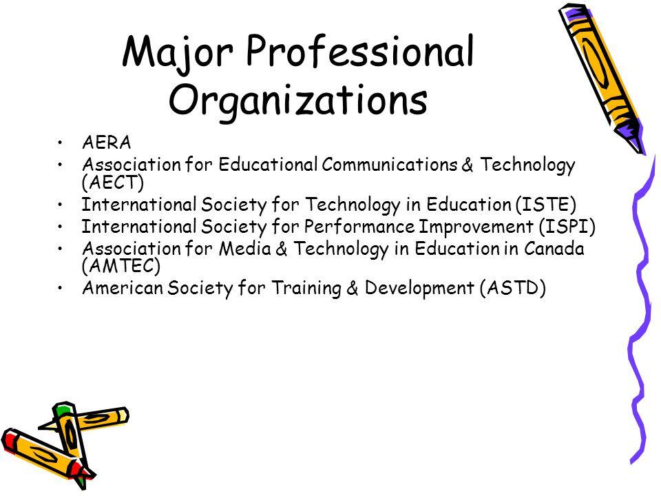 Major Professional Organizations AERA Association for Educational Communications & Technology (AECT) International Society for Technology in Education