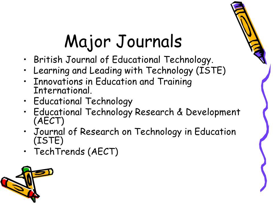 Major Journals British Journal of Educational Technology. Learning and Leading with Technology (ISTE) Innovations in Education and Training Internatio