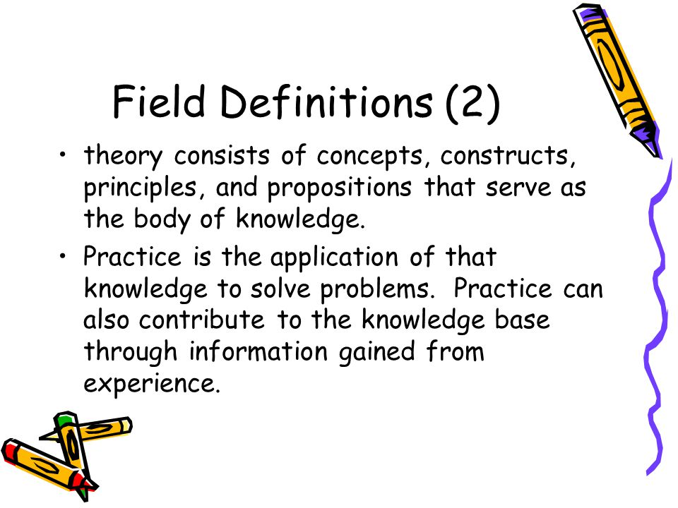 Field Definitions (2) theory consists of concepts, constructs, principles, and propositions that serve as the body of knowledge. Practice is the appli