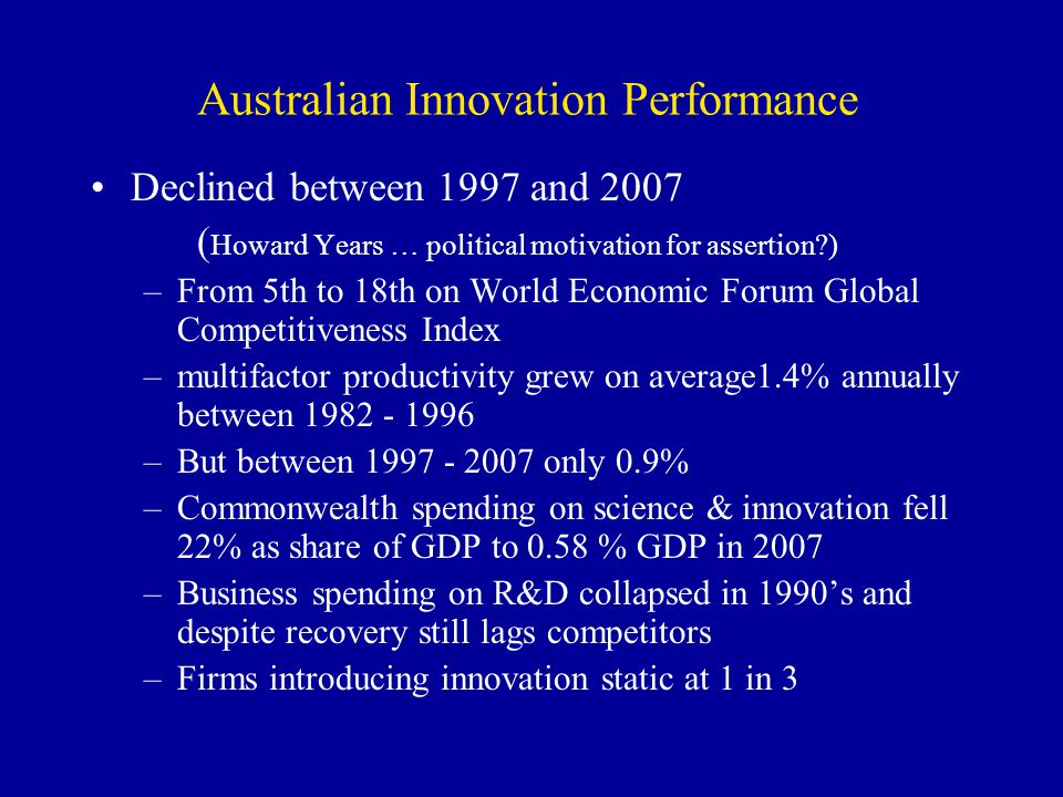 Australian Innovation Performance Declined between 1997 and 2007 ( Howard Years … political motivation for assertion?) –From 5th to 18th on World Econ