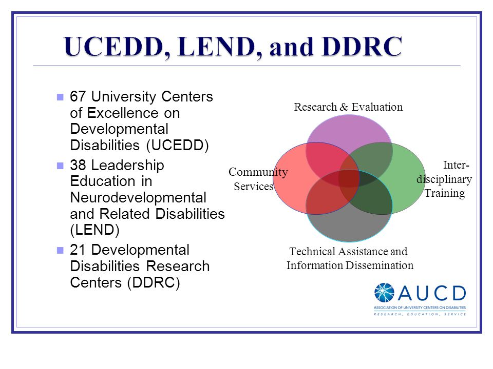 67 University Centers of Excellence on Developmental Disabilities (UCEDD) 38 Leadership Education in Neurodevelopmental and Related Disabilities (LEND