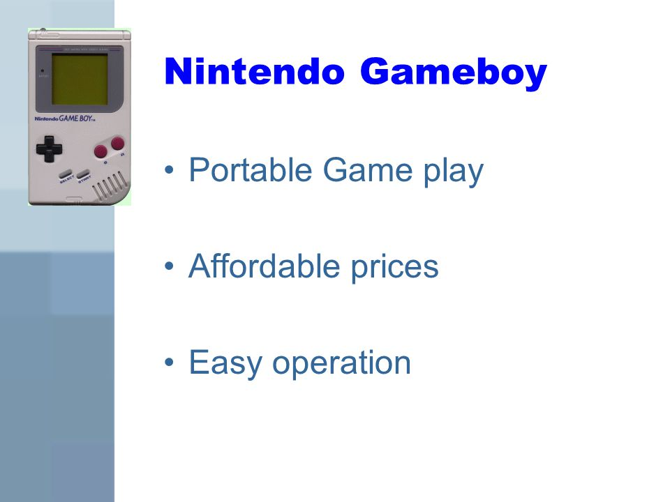 Nintendo Gameboy Portable Game play Affordable prices Easy operation