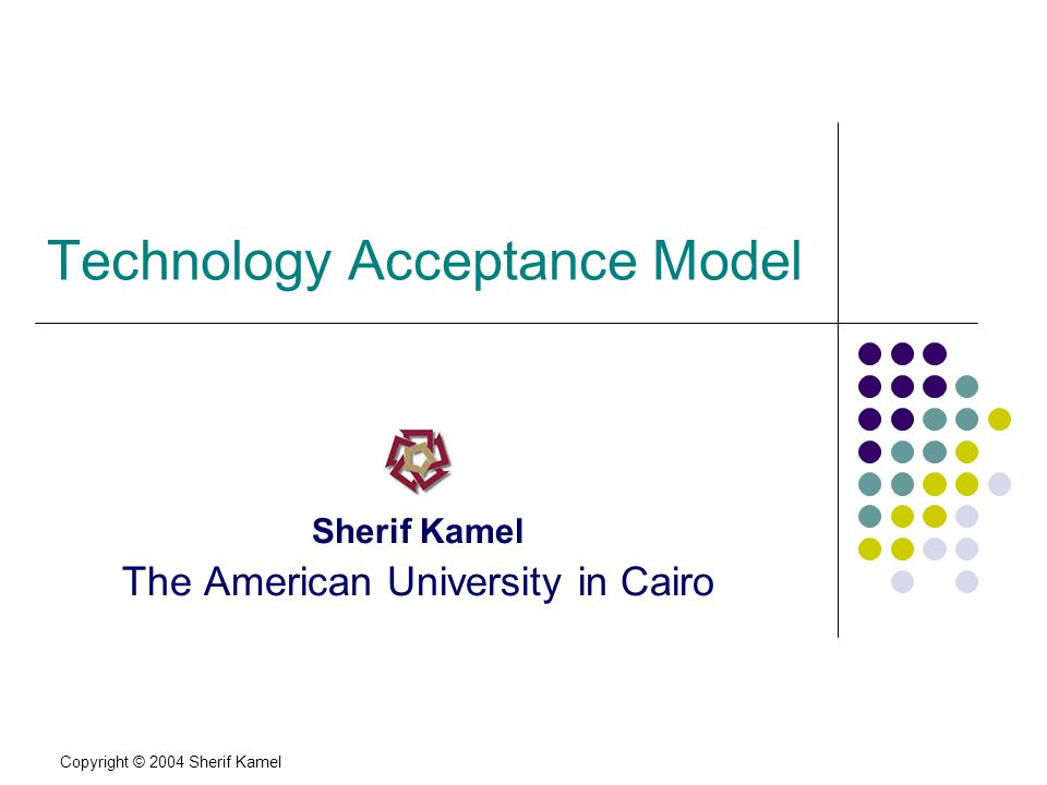 Copyright © 2004 Sherif Kamel Introduction Emerging information technology can not deliver improved organizational effectiveness if it is not accepted and used by potential users.