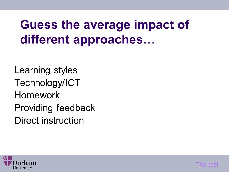 Guess the average impact of different approaches… Learning styles Technology/ICT Homework Providing feedback Direct instruction The past