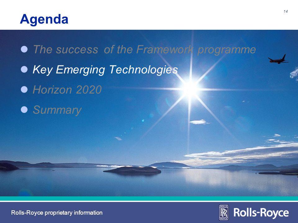 Rolls-Royce proprietary information Agenda The success of the Framework programme Key Emerging Technologies Horizon 2020 Summary 14
