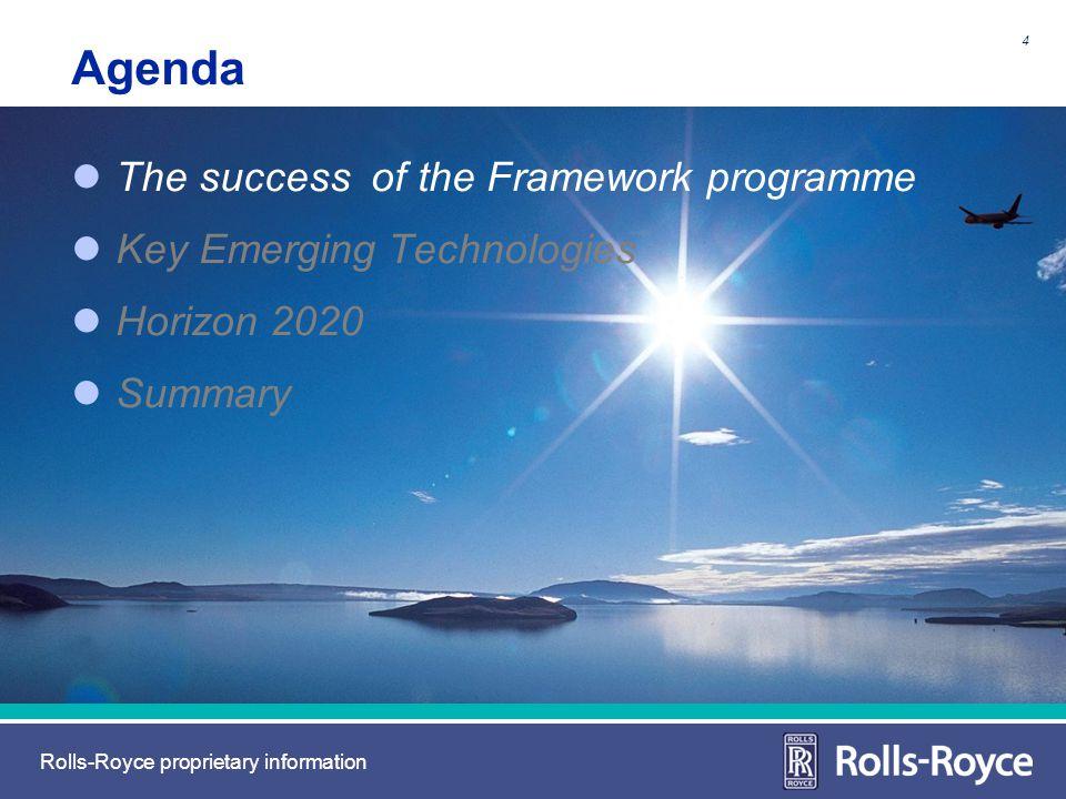 Rolls-Royce proprietary information Agenda The success of the Framework programme Key Emerging Technologies Horizon 2020 Summary 4