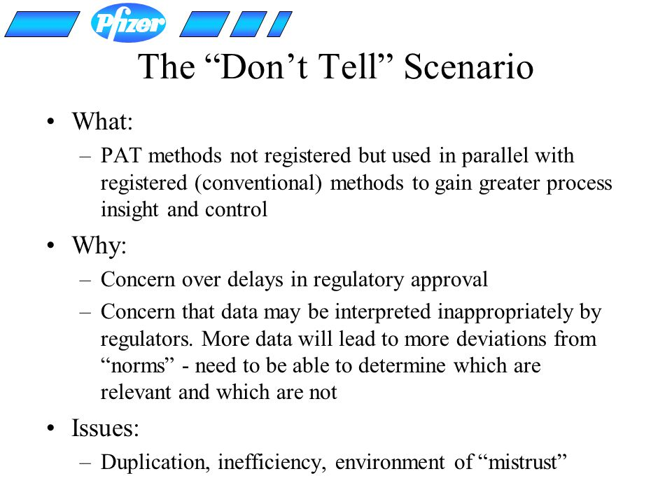 The Dont Tell Scenario What: –PAT methods not registered but used in parallel with registered (conventional) methods to gain greater process insight a