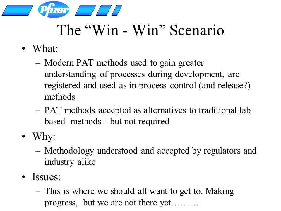 The Win - Win Scenario What: –Modern PAT methods used to gain greater understanding of processes during development, are registered and used as in-pro