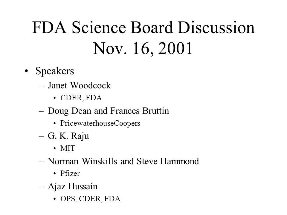 FDA Science Board Discussion Nov. 16, 2001 Speakers –Janet Woodcock CDER, FDA –Doug Dean and Frances Bruttin PricewaterhouseCoopers –G. K. Raju MIT –N
