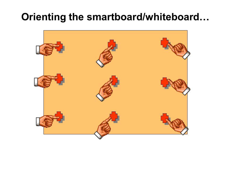 Orienting the smartboard/whiteboard…