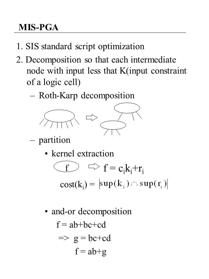 MIS-PGA 1. SIS standard script optimization 2. Decomposition so that each intermediate node with input less that K(input constraint of a logic cell) –