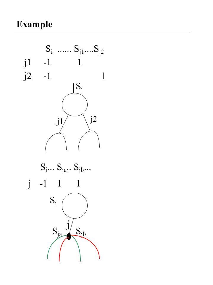 Example S i...... S j1....S j2 j1 -1 1 j2 -1 1 SiSi j1 S i... S ja.. S jb... j -1 1 1 SiSi S ja S jb j2 j