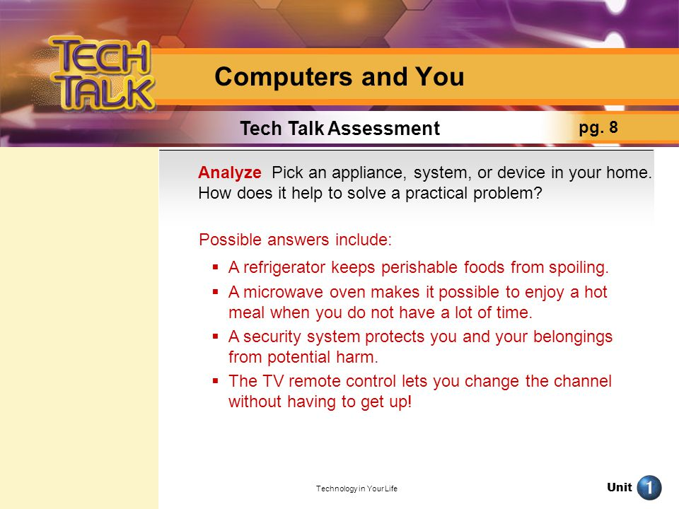 Unit Technology in Your Life Computers and You Tech Talk Assessment pg. 8 Analyze Pick an appliance, system, or device in your home. How does it help