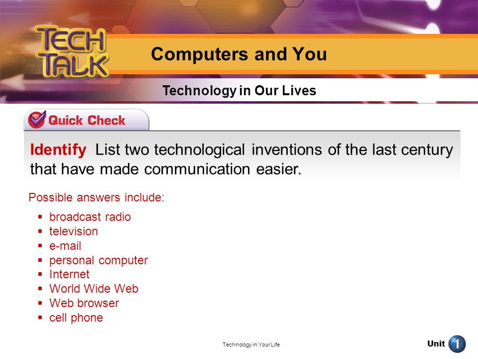 Unit Technology in Your Life Identify List two technological inventions of the last century that have made communication easier. Technology in Our Liv