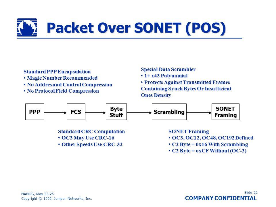Slide 22 COMPANY CONFIDENTIAL NANOG, May 23-25 Copyright © 1999, Juniper Networks, Inc. Packet Over SONET (POS) PPPByteStuffFCSScramblingSONETFraming