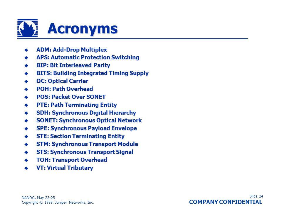 Slide 24 COMPANY CONFIDENTIAL NANOG, May 23-25 Copyright © 1999, Juniper Networks, Inc. Acronyms ADM: Add-Drop Multiplex ADM: Add-Drop Multiplex APS: