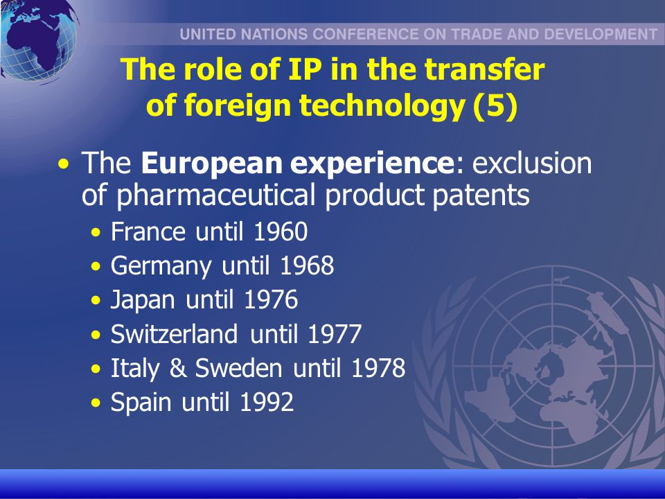 UNCTAD/CD-TFT 9 The role of IP in the transfer of foreign technology (6) Lesson from DC and OECD experience: in order to promote TOT, domestic IP system needs to be adapted to a countrys level of development TRIPS contains flexibilities allowing such adaptations (next sessions on copyright and patents) Core importance: public domain as source of information for technological learning