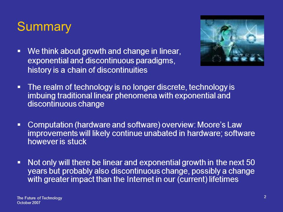 Thank you October 2007 Melanie Swan, Futurist MS Futures Group Palo Alto, CA 650-681-9482 m@melanieswan.com http//www.melanieswan.com Slides: http//www.melanieswan.com/presentations Licensing: Creative Commons 3.0 http://creativecommons.org/licenses/by-nc-sa/3.0/