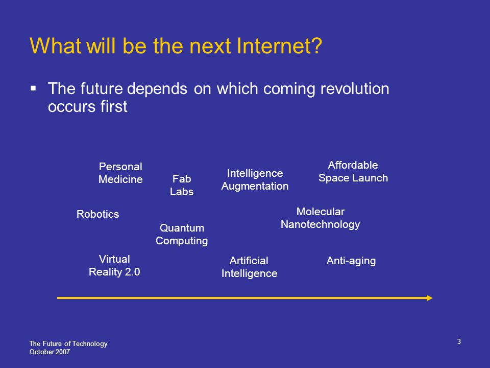 The Future of Technology October 2007 4 Paradigms of growth and change Linear Economic, demographic, biological phenomena Exponential Technological phenomena: processors, memory, storage, communications, Internet communities Discontinuous Airplane, radio, wars, radar, nuclear weapons, automobile, satellites, Internet, globalization, computers Impossible to predict Evaluate rapid transition time and doubling capability Next possible candidates: molecular manufacturing, artificial intelligence Exponential Discontinuous Linear
