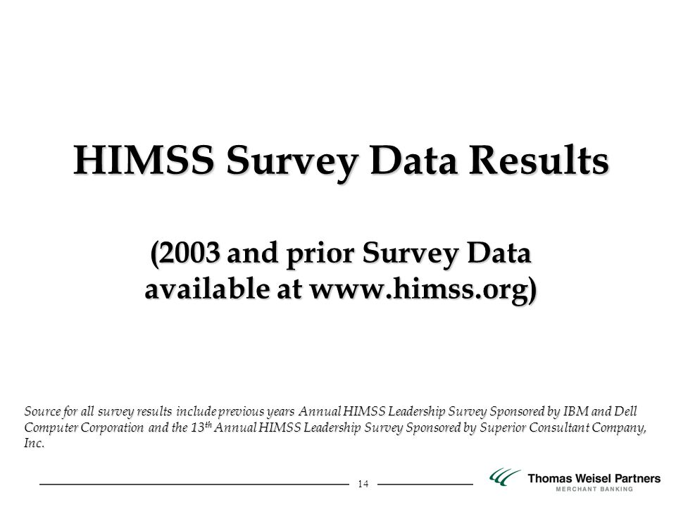14 HIMSS Survey Data Results (2003 and prior Survey Data available at www.himss.org) Source for all survey results include previous years Annual HIMSS