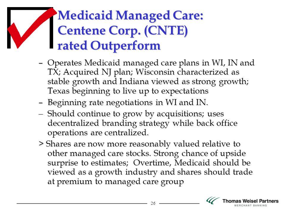 26 Medicaid Managed Care: Centene Corp.