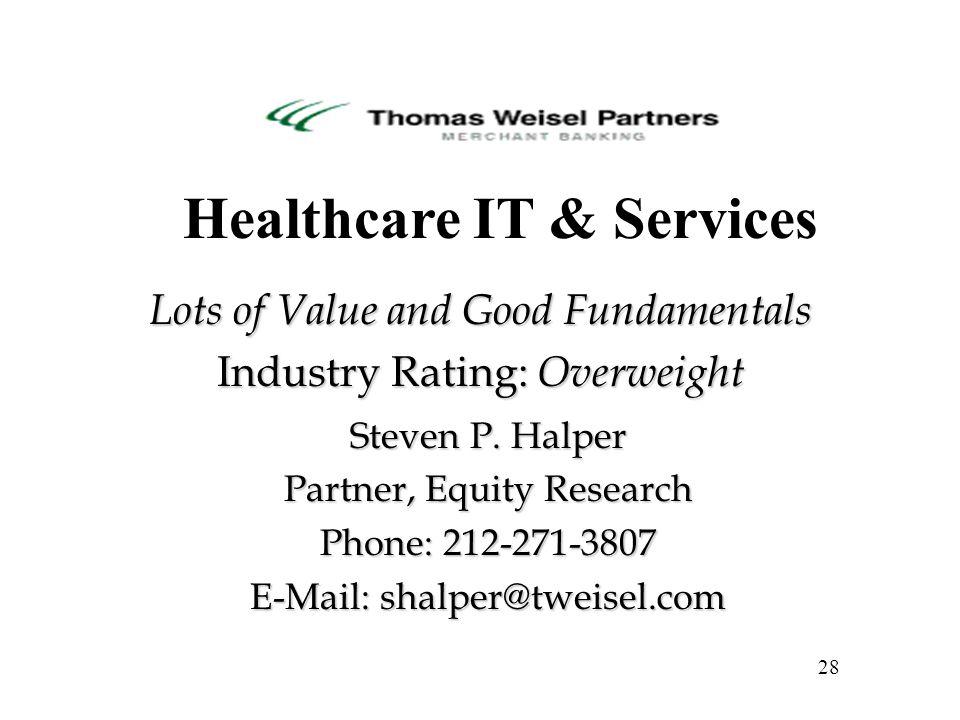 Steven P. Halper Partner, Equity Research Phone: 212-271-3807 E-Mail: shalper@tweisel.com 28 Healthcare IT & Services Lots of Value and Good Fundament