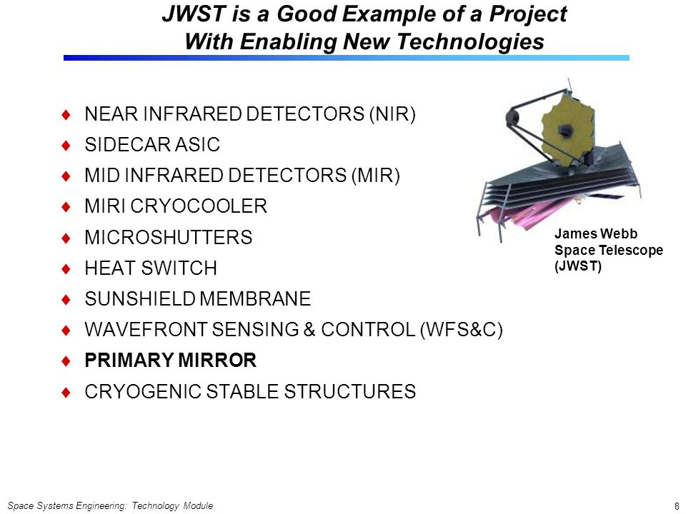 Space Systems Engineering: Technology Module 8 JWST is a Good Example of a Project With Enabling New Technologies NEAR INFRARED DETECTORS (NIR) SIDECA