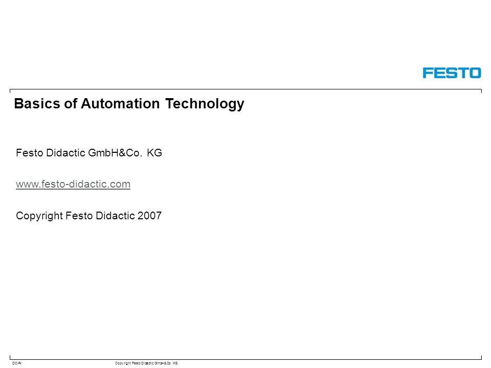 DC-R/Copyright Festo Didactic GmbH&Co. KG Basics of Automation Technology Festo Didactic GmbH&Co. KG www.festo-didactic.com Copyright Festo Didactic 2
