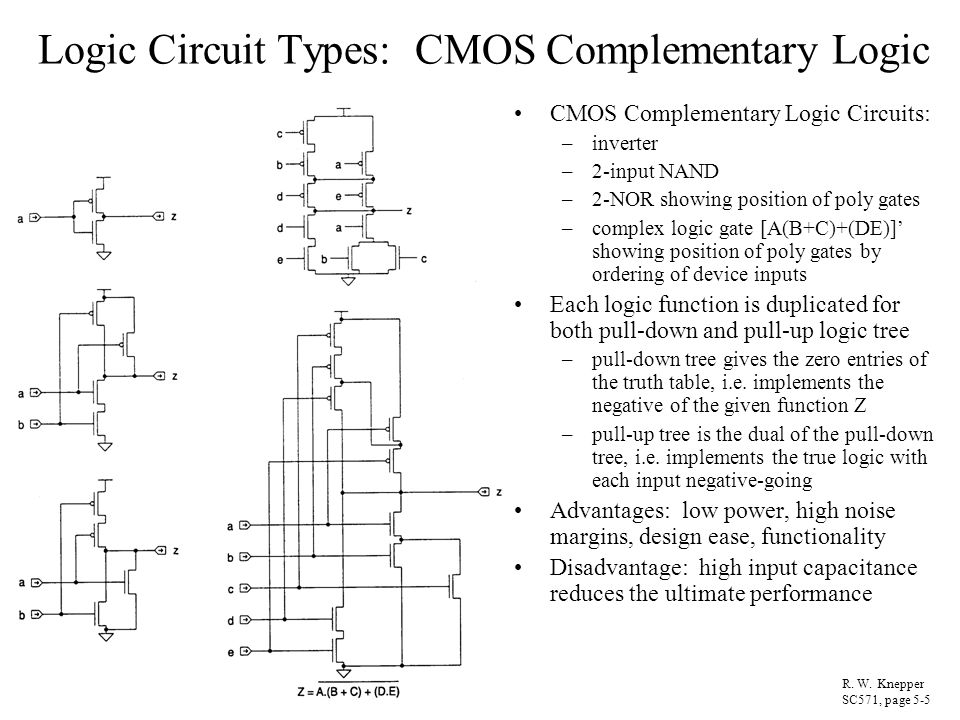 Logic Circuit Types: CMOS Complementary Logic CMOS Complementary Logic Circuits: –inverter –2-input NAND –2-NOR showing position of poly gates –comple