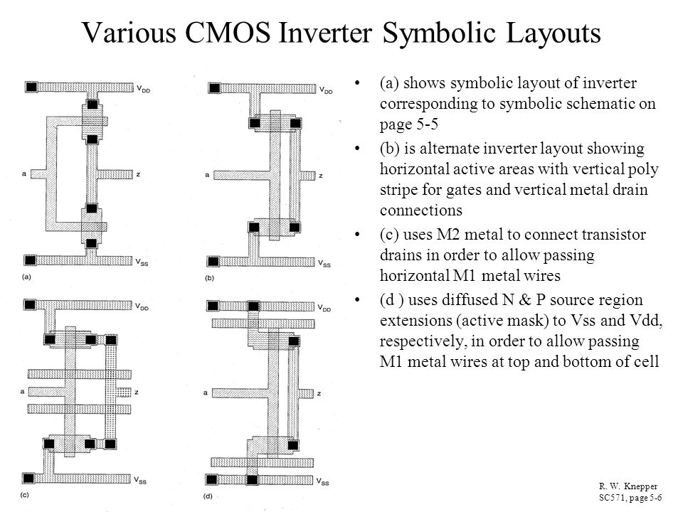 Various CMOS Inverter Symbolic Layouts (a) shows symbolic layout of inverter corresponding to symbolic schematic on page 5-5 (b) is alternate inverter
