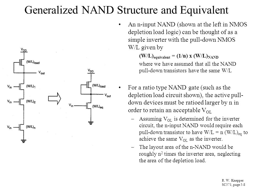 Generalized NAND Structure and Equivalent An n-input NAND (shown at the left in NMOS depletion load logic) can be thought of as a simple inverter with