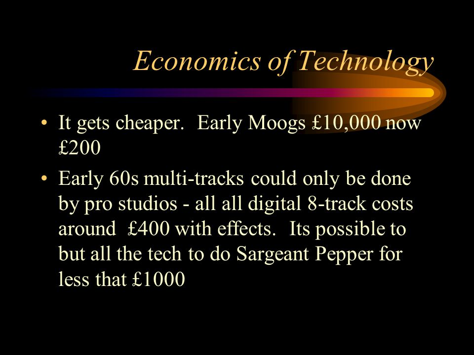 Economics of Technology It gets cheaper.