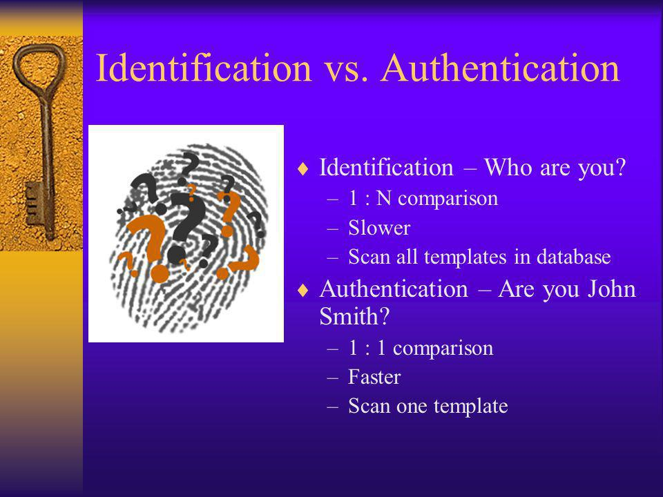 Identification vs. Authentication Identification – Who are you.