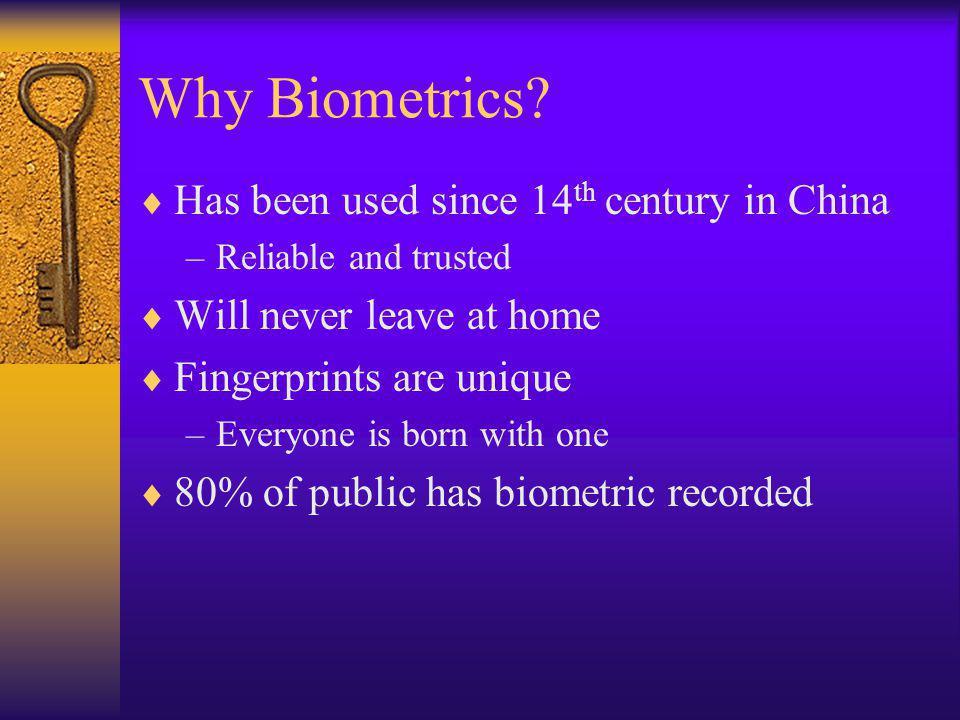 Why Biometrics.