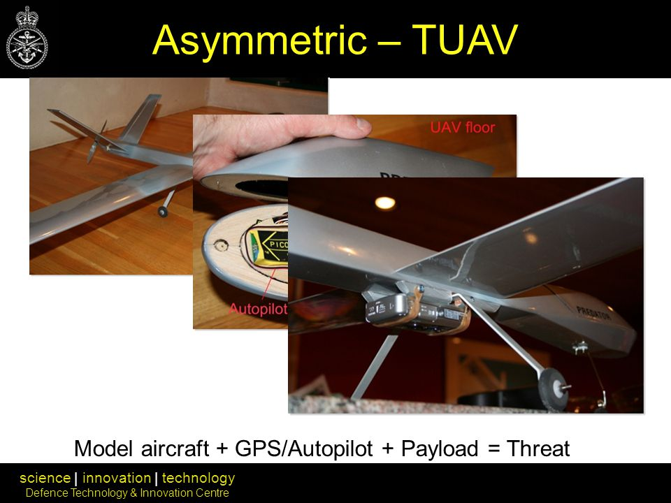 science | innovation | technology Defence Technology & Innovation Centre Model aircraft + GPS/Autopilot + Payload = Threat Asymmetric – TUAV