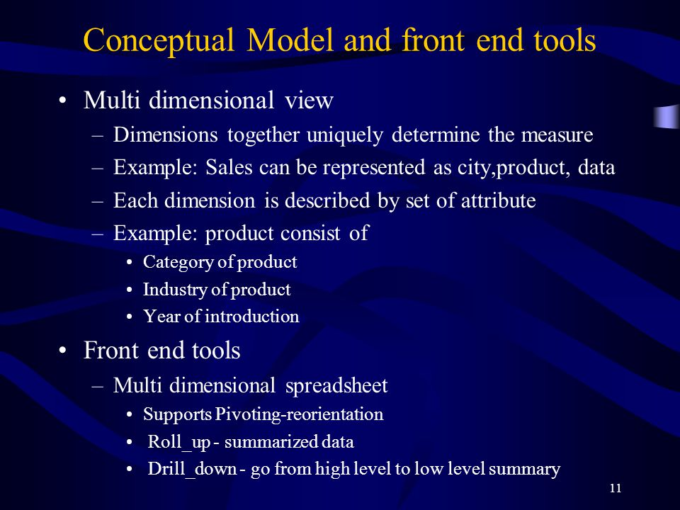 11 Conceptual Model and front end tools Multi dimensional view –Dimensions together uniquely determine the measure –Example: Sales can be represented