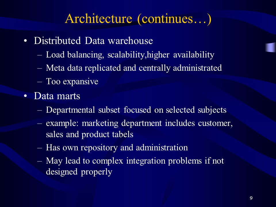 9 Architecture (continues…) Distributed Data warehouse –Load balancing, scalability,higher availability –Meta data replicated and centrally administra