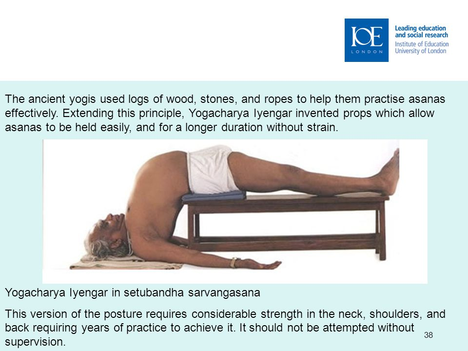 38 The ancient yogis used logs of wood, stones, and ropes to help them practise asanas effectively.
