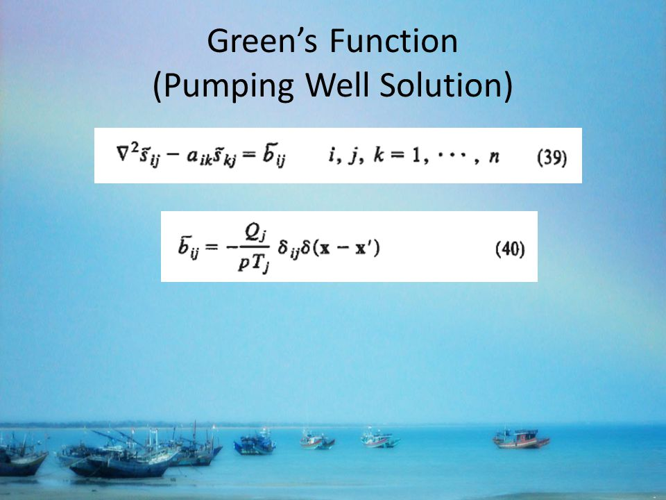 Greens Function (Pumping Well Solution)