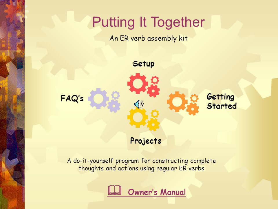 Putting It Together An ER verb assembly kit Karin White – French teacher C&I 401 – Fall 2005 Dr. Cheri Toledo Curriculum Web- Middle School French Oct