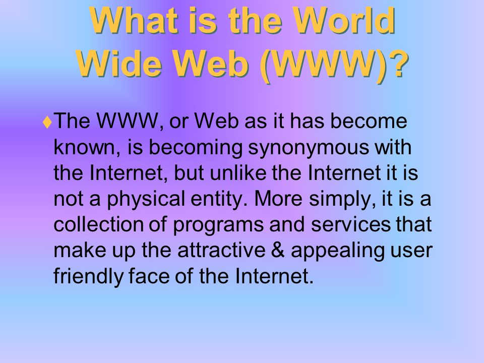 What is the Internet? The Internet is a worldwide system of computer networks - a network of networks in which users at any one computer can potential