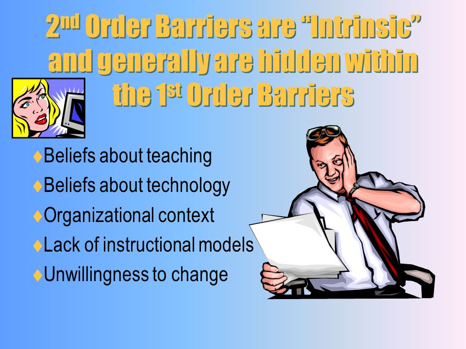 1 st Order Barriers are Extrinsic and generally are a Lack of: Access to hardware Access to software Time to plan instruction Technical support Admini
