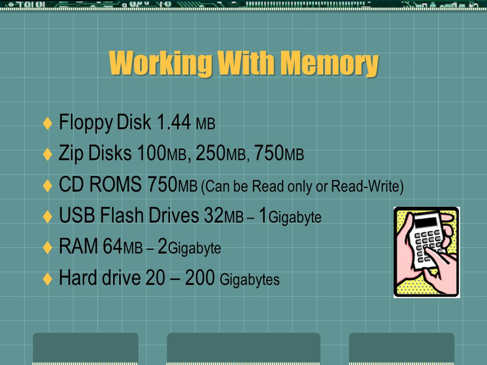 Memory & Storage ROM Read Only Memory. This is Typically found on your hard drive RAM Random Access Memory Drives This can be your hard drive, floppy,