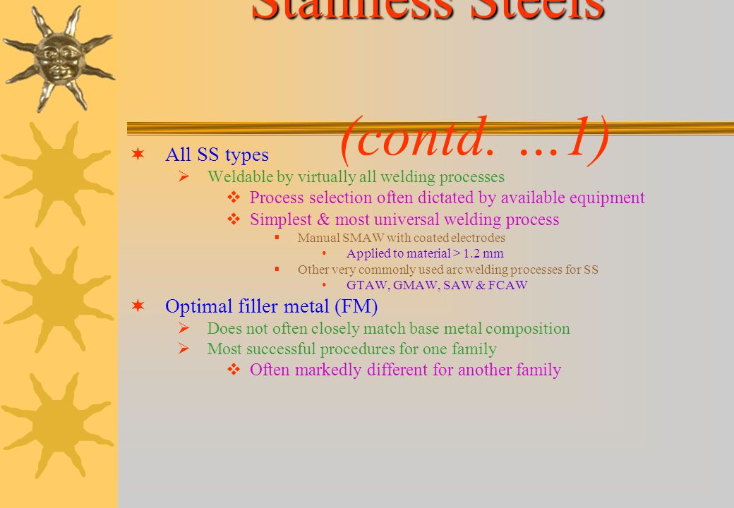 STAINLESS STEELS SS defined as Iron-base alloy containing > 10.5% Cr & < 1.5%C Based on microstructure & properties 5 major families of SS Austenitic