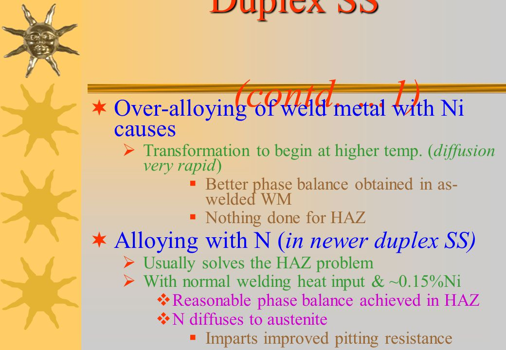 Duplex Ferritic- Austenitic Stainless Steels Optimum phase balance Approximately equal amounts of ferrite & austenite BM composition adjusted as equil