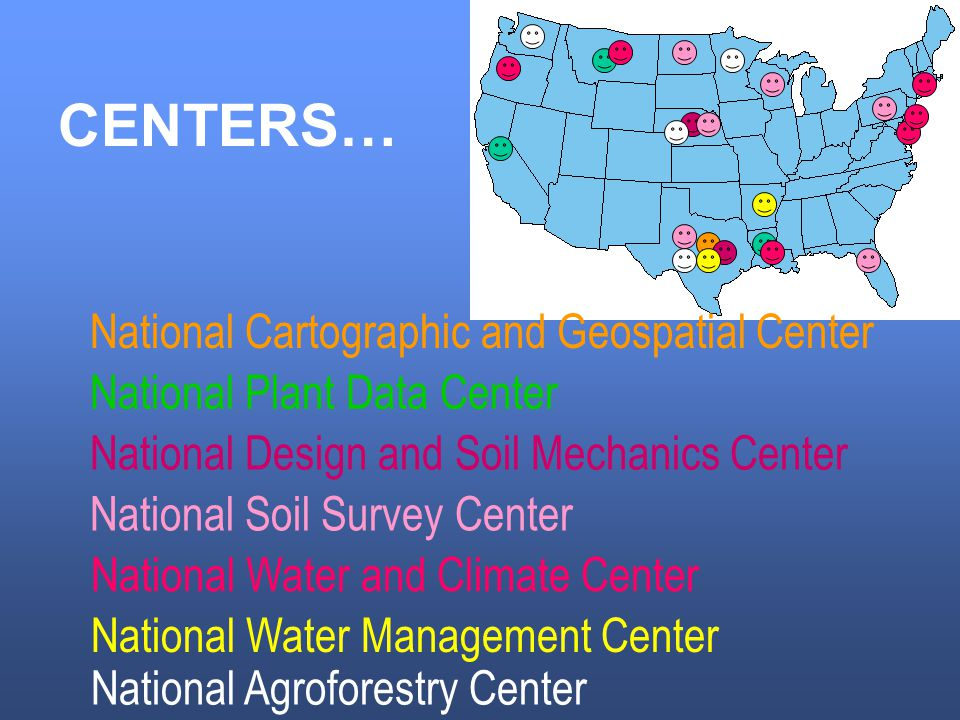 CENTERS… National Cartographic and Geospatial Center National Plant Data Center National Design and Soil Mechanics Center National Soil Survey Center National Water and Climate Center National Water Management Center National Agroforestry Center