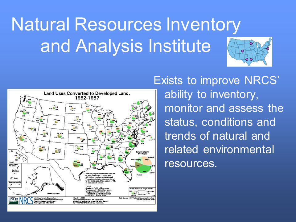 Natural Resources Inventory and Analysis Institute Exists to improve NRCS ability to inventory, monitor and assess the status, conditions and trends of natural and related environmental resources.